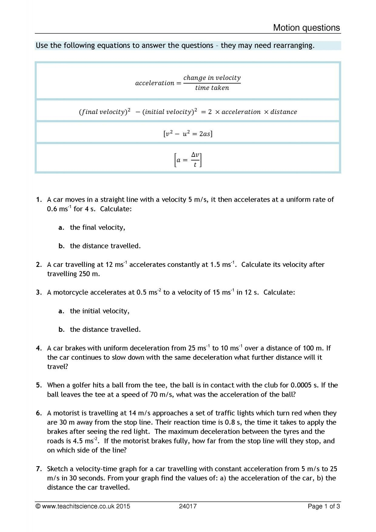 28 Velocity And Acceleration Calculation Worksheet Answer ...