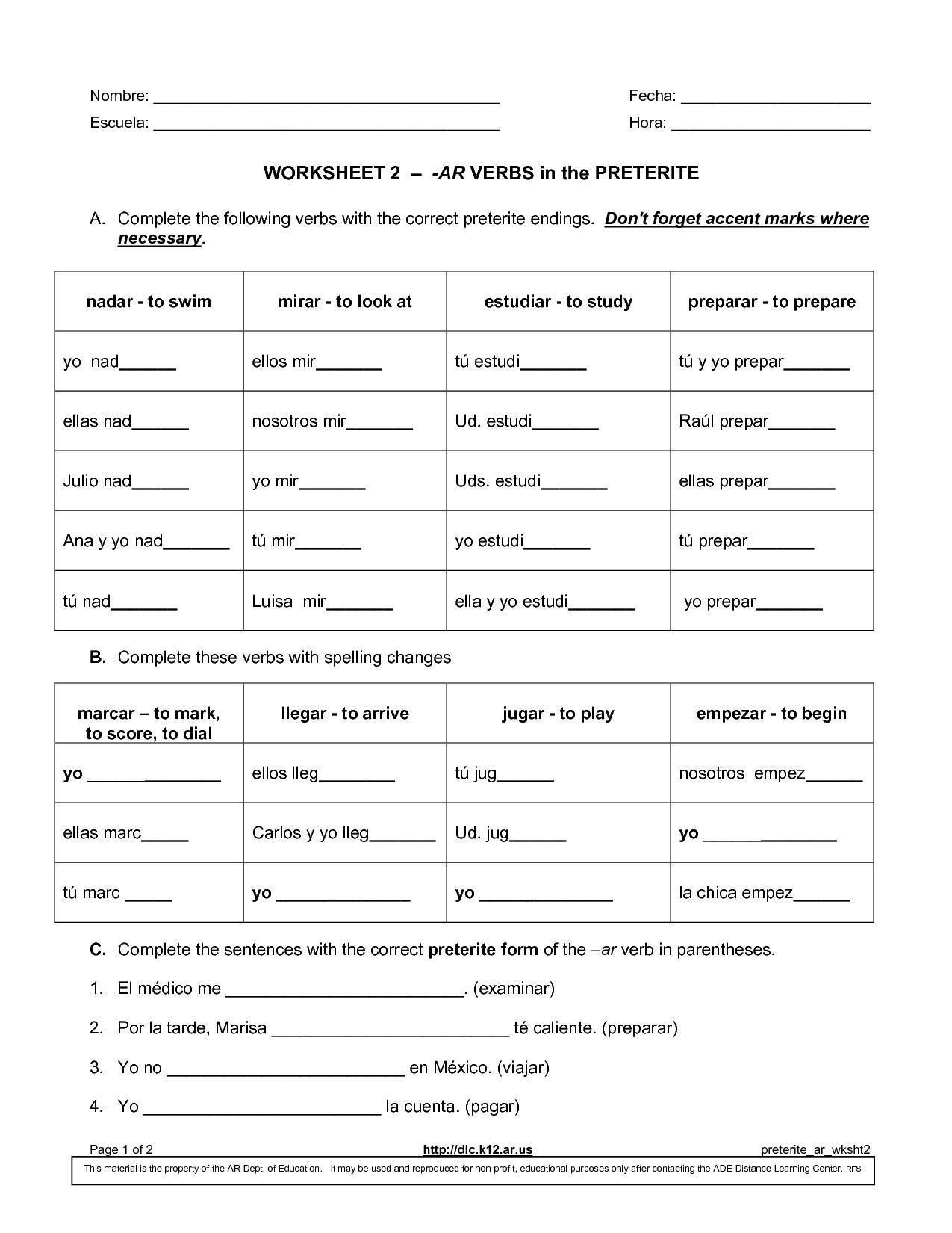 Irregular Verbs Worksheet Spanish