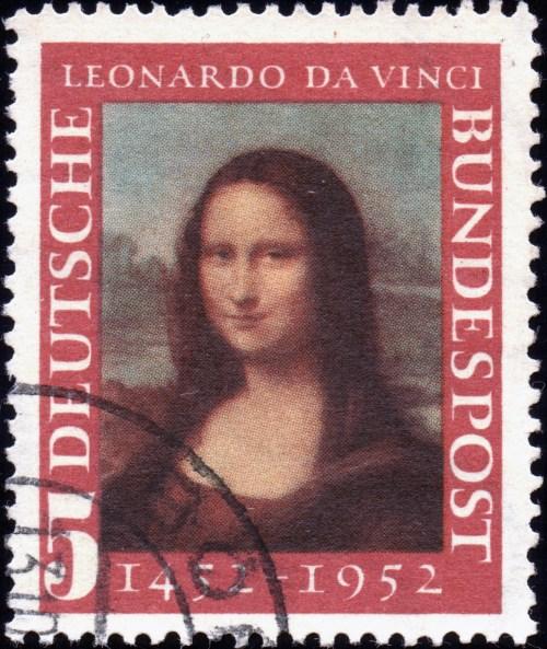 Scan: Deutsche Bundespost - 1952 - Leonardo da Vinci Mona Lisa - 5 Pf. Type II