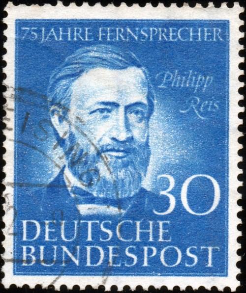 Scan: Briefmarke Deutsche Bundespost - 75 Jahre Fernsprecher - Philipp Reis - 30Pf.