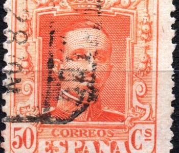 Scan: Briefmarke aus Spanien - 1922 - Alfons XIII - 50cs (orange)