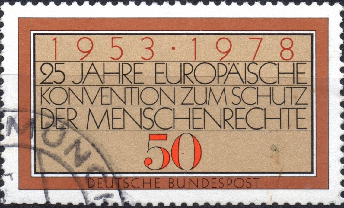 Scan:Briefmarke von 1978 aus Deutschland (BRD), Deutsche Bundespost, mehrfarbig, Titel/Motiv:  Europäische Konvention - '1953 . 1978 25 Jahre Europäische Konvention zum Schutz der Menschenrechte'; Nennwert 50 Pf.