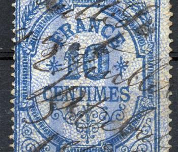 Scan: Fiskal/Gebührenmarke aus Frankreich, vermutlich von 1879, Federentwertung, Nennwert 10 Centimes.