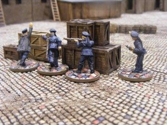 German Naval Infantry using some crates as cover