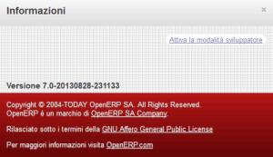OpenERP Modalità Sviluppatore