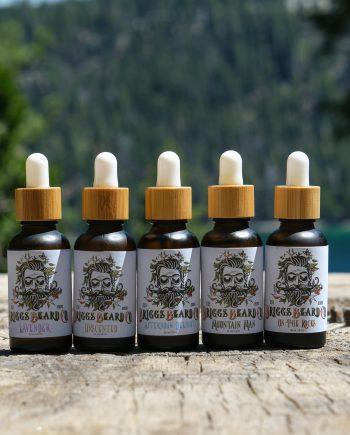 Briggs Beard Co Beard Oils lined up