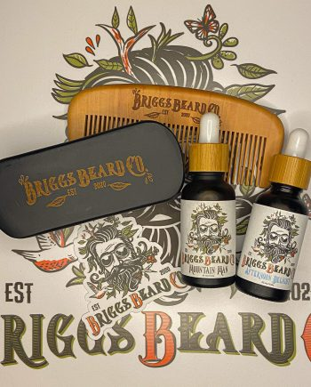 Briggs Beard Care Bundle over the Briggs Beard Co logo