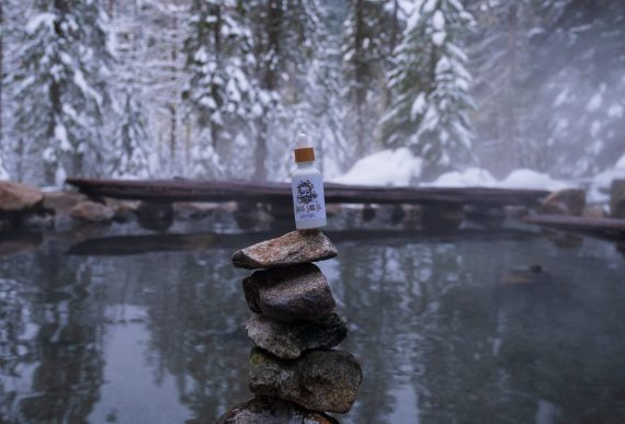 Briggs Body Oil in a wintry hot spring