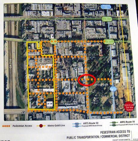 The red circle is where a cross walk may be added to connect Central Park/Gold Line Station to the new residents at Westgate.