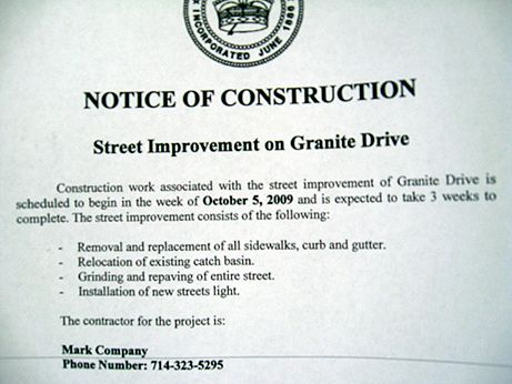 A Notice of Construction informs the public that major upgrades are in store for Granite Dr.