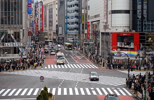Zebra crosswalks in Shibuya, Tokyo, one of the largest pedestrian crossings in the world