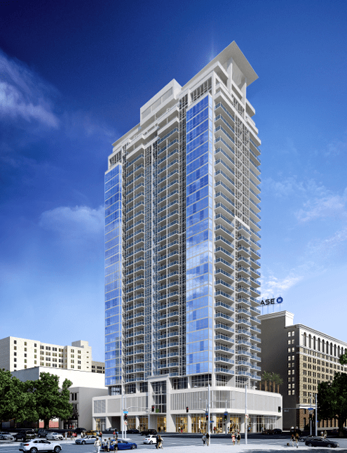 An updated rendering of 888 Olive shows a gleaming glass tower adjacent to the historic 1926 Coast Savings Building at 9th/Olive (Photo: Onni Group)