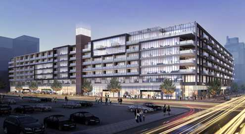 A rendering of what the 8th & Grand project will look like when completed (Photo: Carmel Partners)