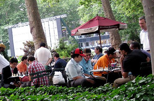Chess players in Bryant Park, New York