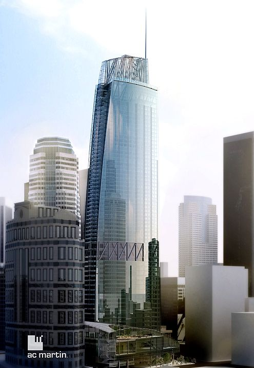 A rendering of the Wilshire Grand Tower that will rise at 7th and Figueroa in Downtown LA's Financial District with a height of 1,100 feet tall to the spire (Photo: AC Martin)