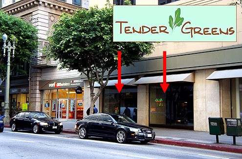 The popular health-conscious eatery from Culver City, Tender Greens, will be opening at the PacMutual Building near Pershing Square