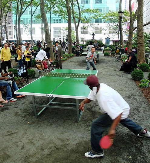 Ping pong in Bryant Park, New York