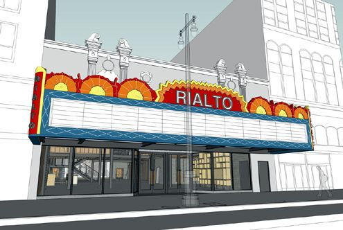 Another rendering showing a restored Rialto Theatre marquee (Photo: Curbed LA)