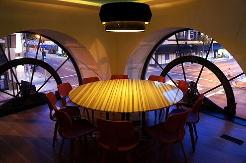 Private dining space upstairs with beautiful arched windows