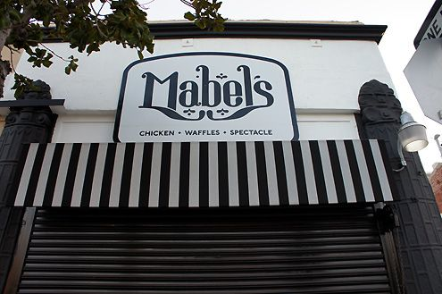 The facade is now complete for the new Mabel's Chicken and Waffles eatery opening soon in South Park in Downtown LA