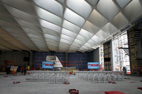"A view of the ""honey comb"" ceiling allowing ample natural light to filter in"