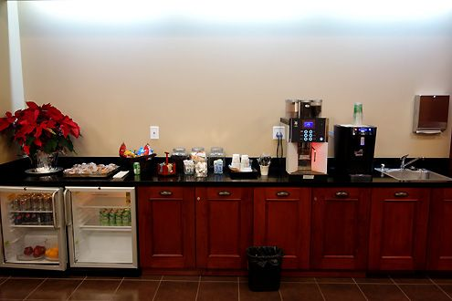 A snack bar with drinks and coffee