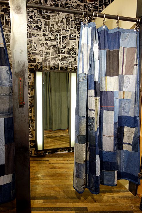 Fitting rooms with denim quilt curtains