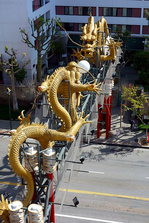 A view of the twin golden dragons from the sixth floor of Jia Apartments