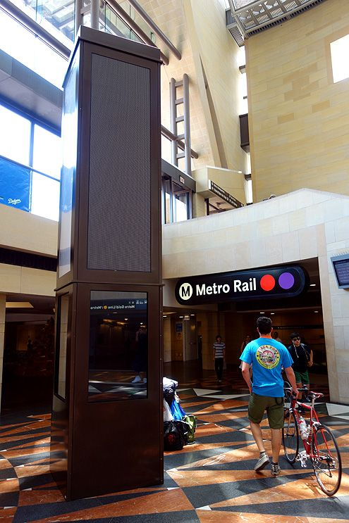 Although not yet operational, a new towering interactive kiosk has been installed in the east portal that will allow transit users to navigate the metro system and surrounding interest points