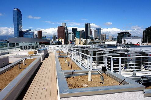 The rooftop deck will have a lounge area with TV and dog run, and of course, an amazing view of the Downtown LA skyline