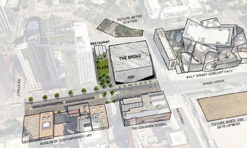 (Click to enlarge) A map showing The Broad in relation to other cultural venues along Grand Ave on Bunker Hill