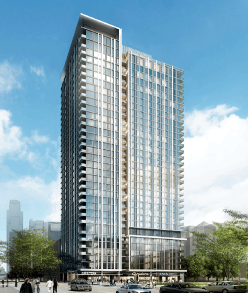 A view of the new 33-story residential tower set to break ground in South Park later this year that will help activate this intersection with increased pedestrian activity (Photo: RTKL)
