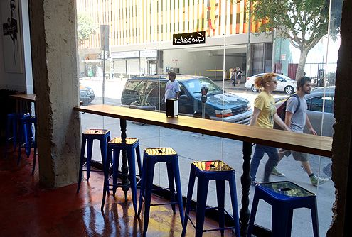 Guisados faces Spring Street in the Historic Core of Downtown LA