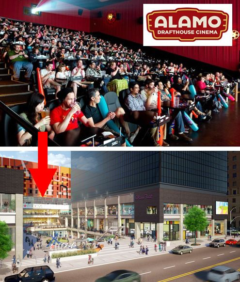 Austin-based Alamo Drafthouse Cinema, with its strict no texting or talking policy, will be a very welcome addition to The Bloc in Downtown LA (Photos: getmyperks.com and The Bloc)