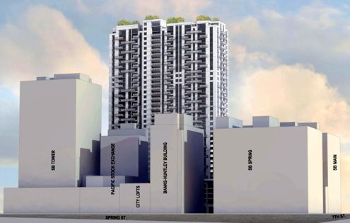 SB Omega compared to existing structures in the Historic Core with the 20-story SB Tower on the left