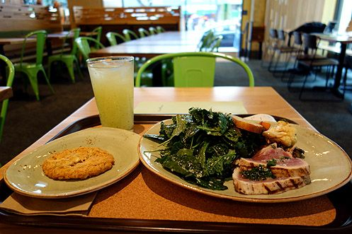 Try the albacore hot plate with kale salad, house-made mint lemonade, with a salted white chocolate oat cookie