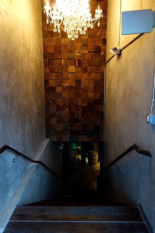These stairs lead you down into the basement of the O Hotel where D'Vine Wine Cellar is located