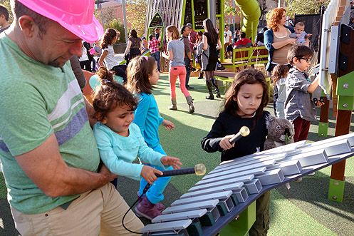 John Michael, a resident of Echo Park, was excited to bring his daughter to this new playground in Downtown LA