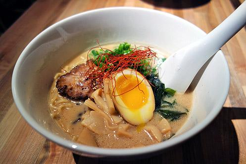 Tonkotsu ramen with chashu, marinated soft boiled egg, and bamboo shoots