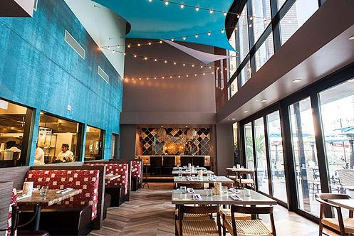 Pez Cantina converted an underutilized conference room in the lobby of an office building into a beautiful restaurant space on Bunker Hill (Photo: Wonho Frank Lee | Eater LA)