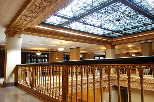The beautiful gold-trimmed skylights now shine brightly again