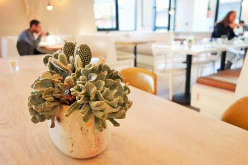 Cafe Gratitude in Downtown LA has a modern and warm aesthetic