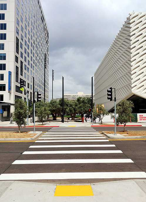 The new Broad crosswalk also connects the new olive tree grove park to the Colburn School across the street