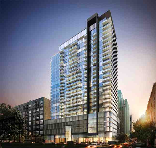 Rendering of the Hill Street side of RTKL-designed Alexan high-rise (Photo: TCR)