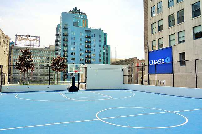Full-size basketball court