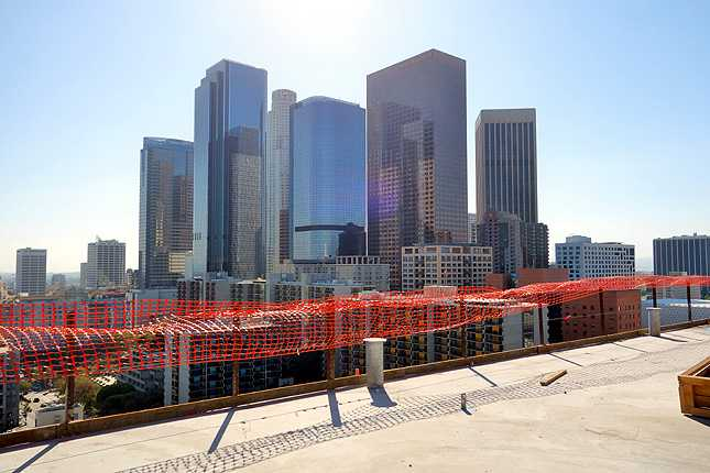 The view of the DTLA skyline from the rooftop