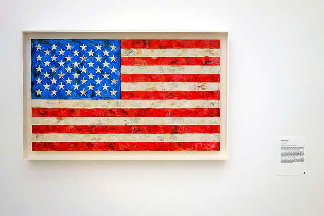 Jasper Johns' Flag (1967) encaustic, oil, and collage on fabric mounted on plywood, three panels