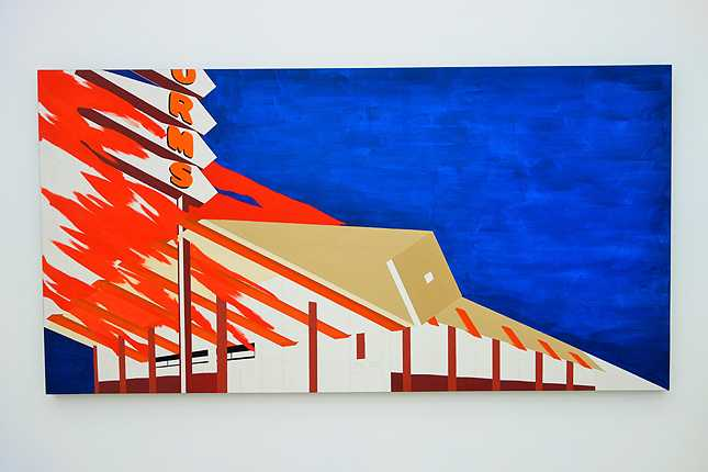 Edward Ruscha's Norms, La Cienega, on Fire (1964) oil and pencil on canvas