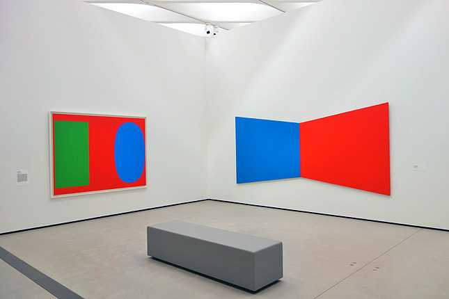 Ellsworth Kelly's Green Blue Red (1963) and Blue Red (1968) oil on canvas