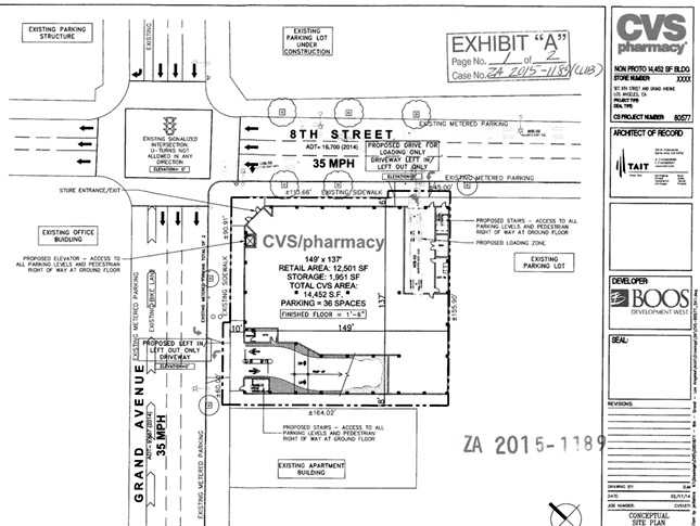 A 14,452 square foot CVS on the ground level of the new parking structure (click to enlarge)